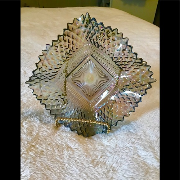 Vintage iridescent candy dish In excellent shape